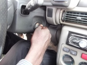 To start the engine, turn the ignition key clockwise
