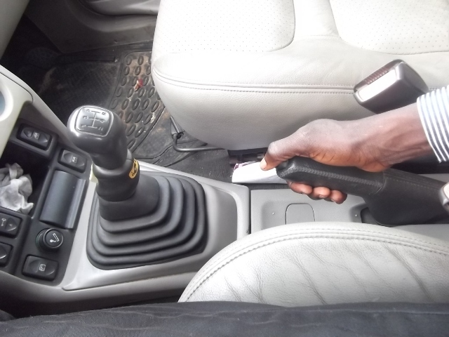 Release the handbrake before moving the car