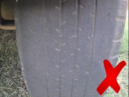 Bald tyre, too bad and dangerous