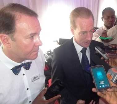 Mr. Hardy, Boulos GM(Right) aswering questions from journalists during Boulos Dealers Conference held recently in Lagos, while Mr. Stanley Evans, Boulos GM, Sales and Marketing(Left) looks on..